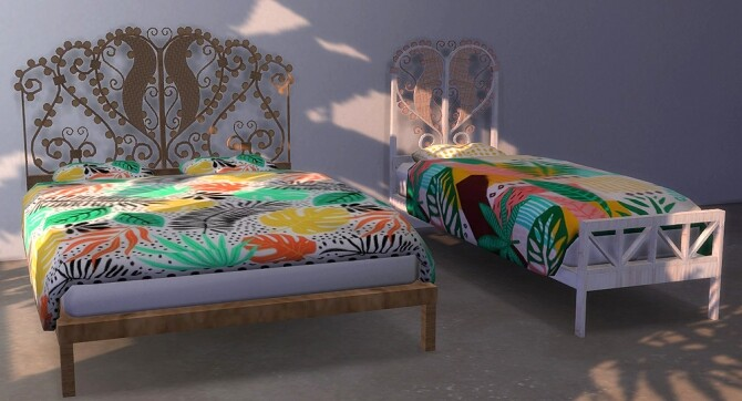 Peacock and rattan bed recolors at Riekus13 image 1345 670x362 Sims 4 Updates