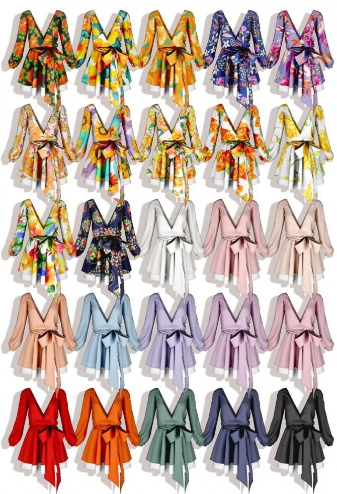 V neck Flare Dress at RIMINGs image 1352 670x982 Sims 4 Updates