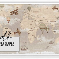 Kids World Map Mural Walls