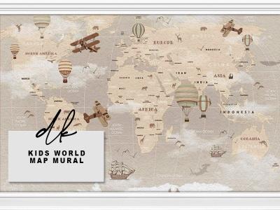 Kids World Map Mural Walls