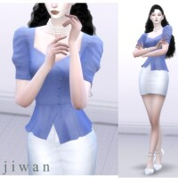 Square puff blouse by wijiwan