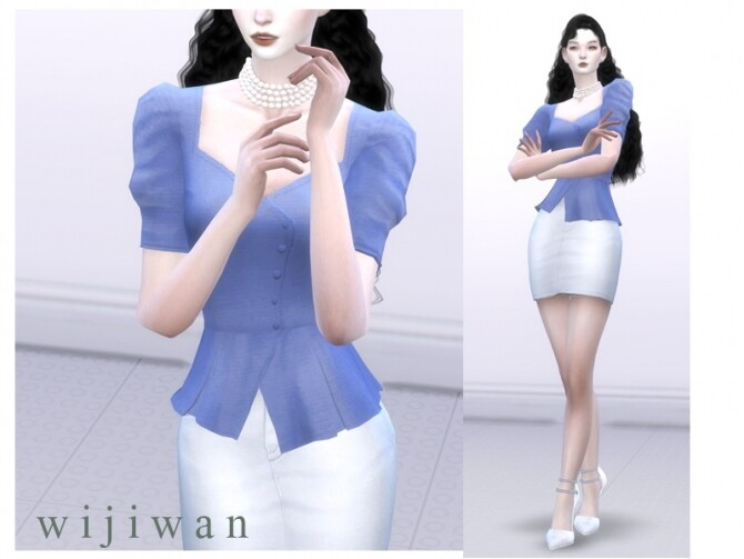 Square puff blouse by wijiwan at TSR image 1400 670x503 Sims 4 Updates