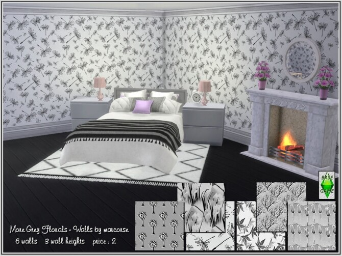 Sims 4 More Grey Florals Walls by marcorse at TSR