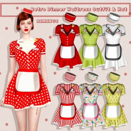 Retro Dinner Waitress Outfit Hat