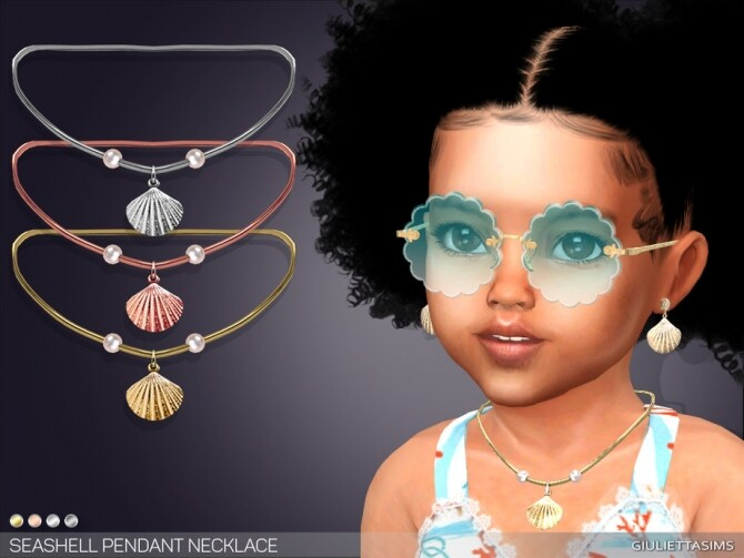 Sims 4 Seashell Pendant Necklace For Toddlers by feyona at TSR