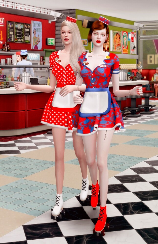 Sims 4 Retro Dinner Waitress Outfit & Hat at RIMINGs