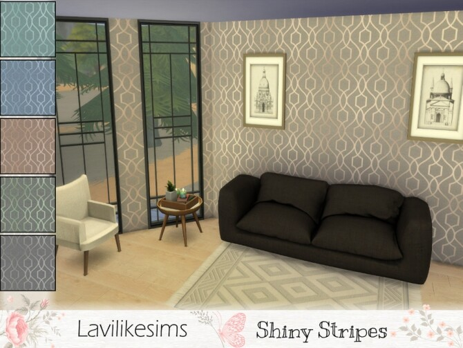 Sims 4 Shiny Stripes Wallpaper by lavilikesims at TSR