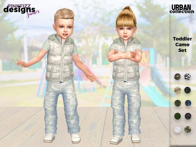 Sims 4 Urban Toddler Camo Set by Pinkfizzzzz at TSR