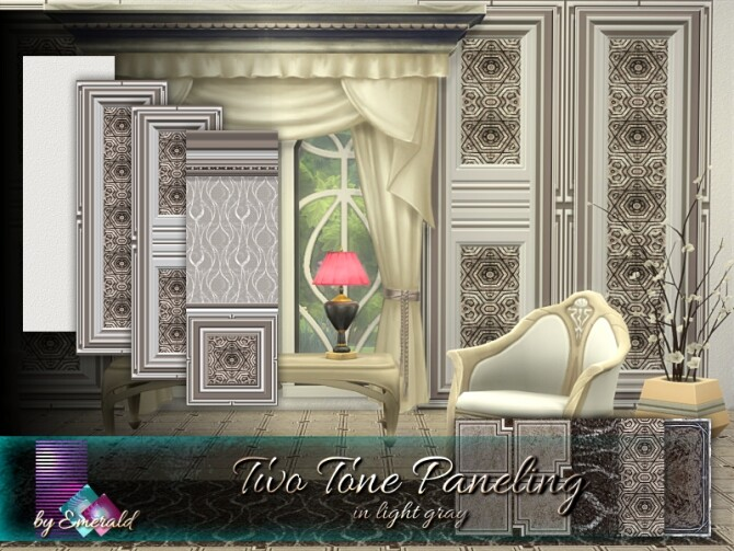 Sims 4 Two Tone Paneling in light gray by emerald at TSR