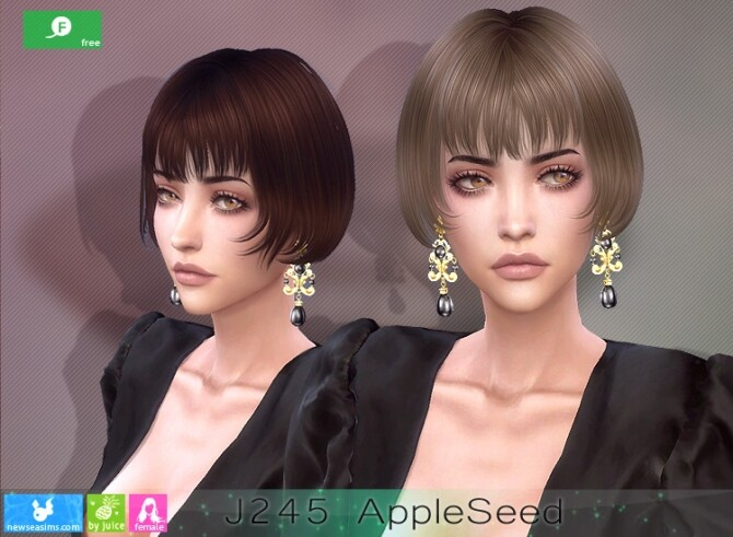 Sims 4 J245 AppleSeed hair at Newsea Sims 4