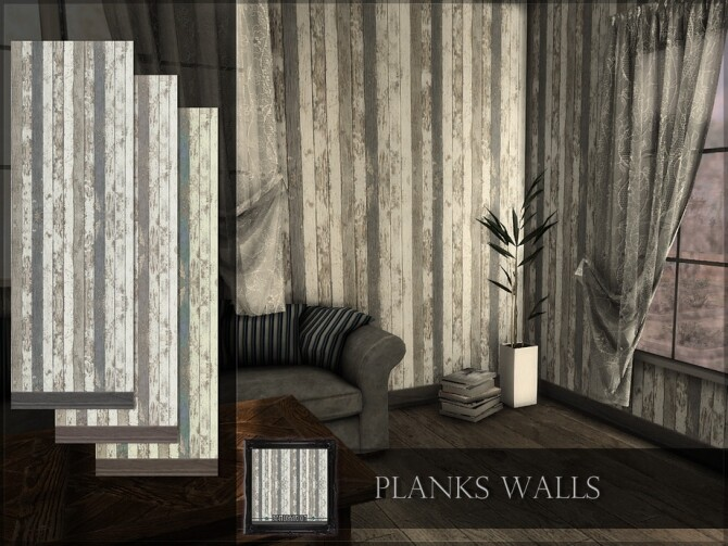 Sims 4 Planks Walls by RemusSirion at TSR