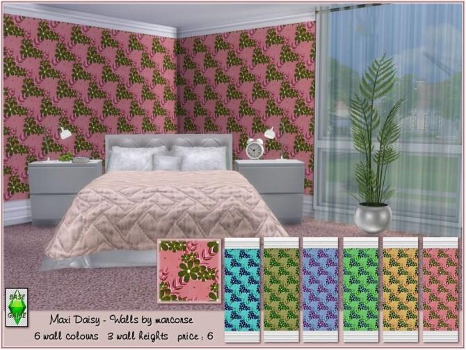 Sims 4 Maxi Daisy Walls by marcorse at TSR
