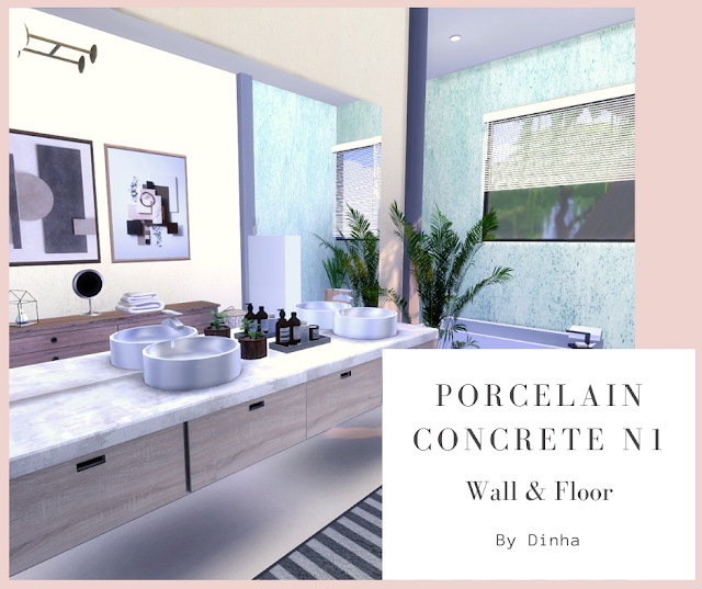 Porcelain Concrete N1 Wall & Floor 20 Textures at Dinha Gamer image 1663 Sims 4 Updates