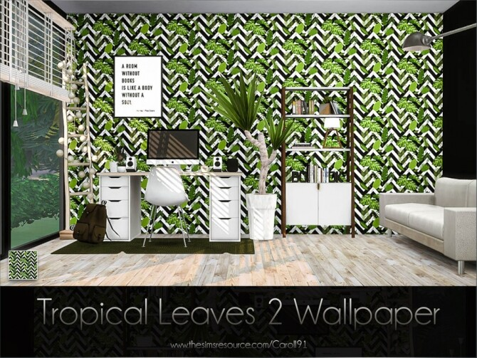Sims 4 Tropical Leaves 2 Wallpaper by Caroll91 at TSR