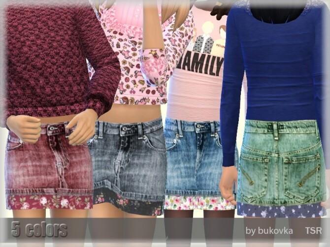 Sims 4 Denim Skirt by bukovka at TSR