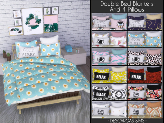 Sims 4 Double Bed Blankets & 4 Pillows at Descargas Sims