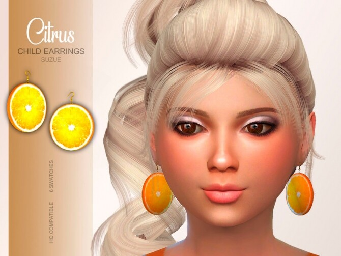 Sims 4 Citrus Child Earrings by Suzue at TSR
