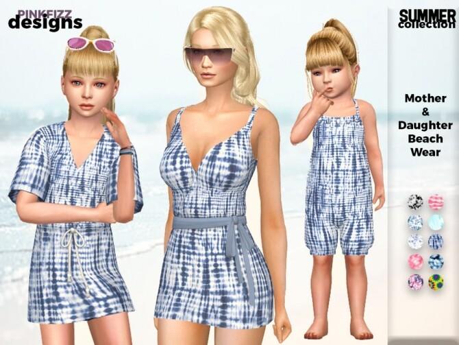 Sims 4 Summer Mother & Daughter Beach Wear by Pinkfizzzzz at TSR