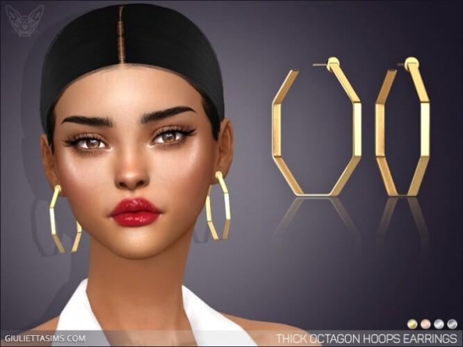 Thick Octagon Hoop Earrings