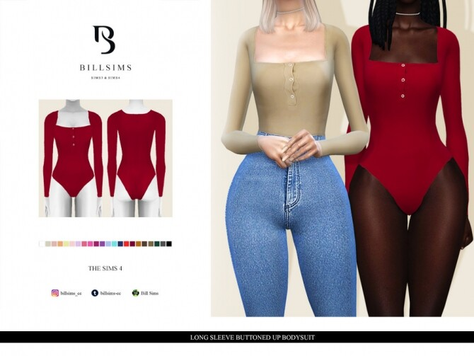 Sims 4 Long Sleeve Buttoned Up Bodysuit by Bill Sims at TSR