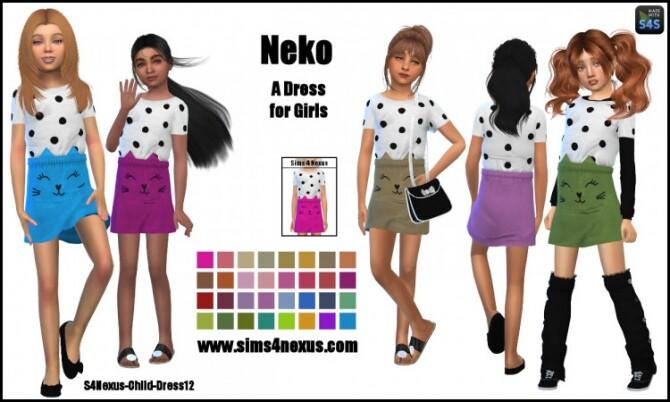 Sims 4 Neko dress for girls by SamanthaGump at Sims 4 Nexus