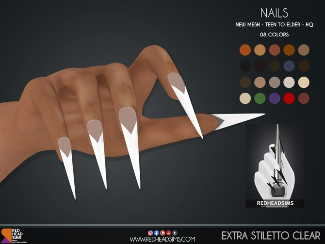 EXTRA STILETTO CLEAR NAILS at REDHEADSIMS image 1883 670x503 Sims 4 Updates