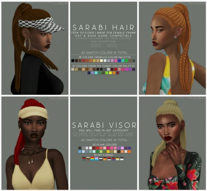 SARABI HAIR + VISOR at Candy Sims 4 image 1891 670x619 Sims 4 Updates