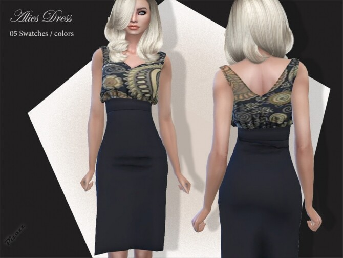 Sims 4 Alise Dress by pizazz at TSR