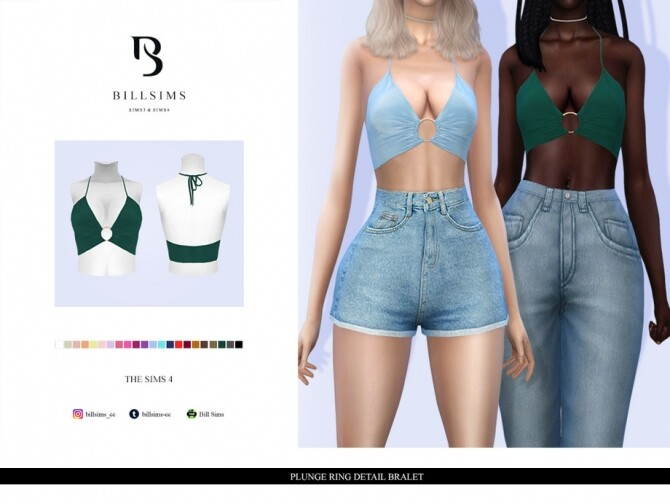 Sims 4 Plunge Ring Detail Bralet by Bill Sims at TSR