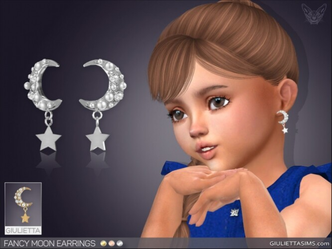 Fancy Moon Earrings For Toddlers by feyona