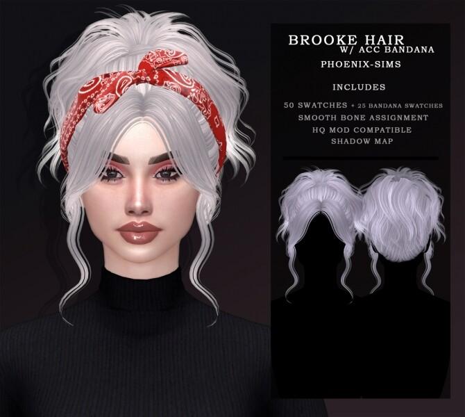 Sims 4 BROOKE HAIR WITH ACC BANDANA + KORALIA HAIR at Phoenix Sims