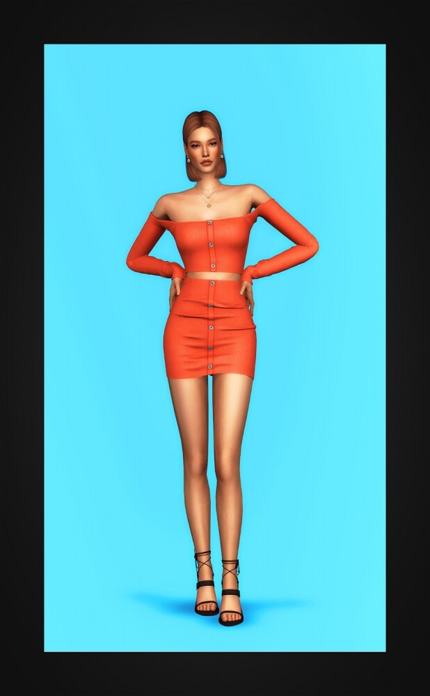 Ribbed Two Piece Mini Dress at Gorilla image 2004 618x1000 Sims 4 Updates