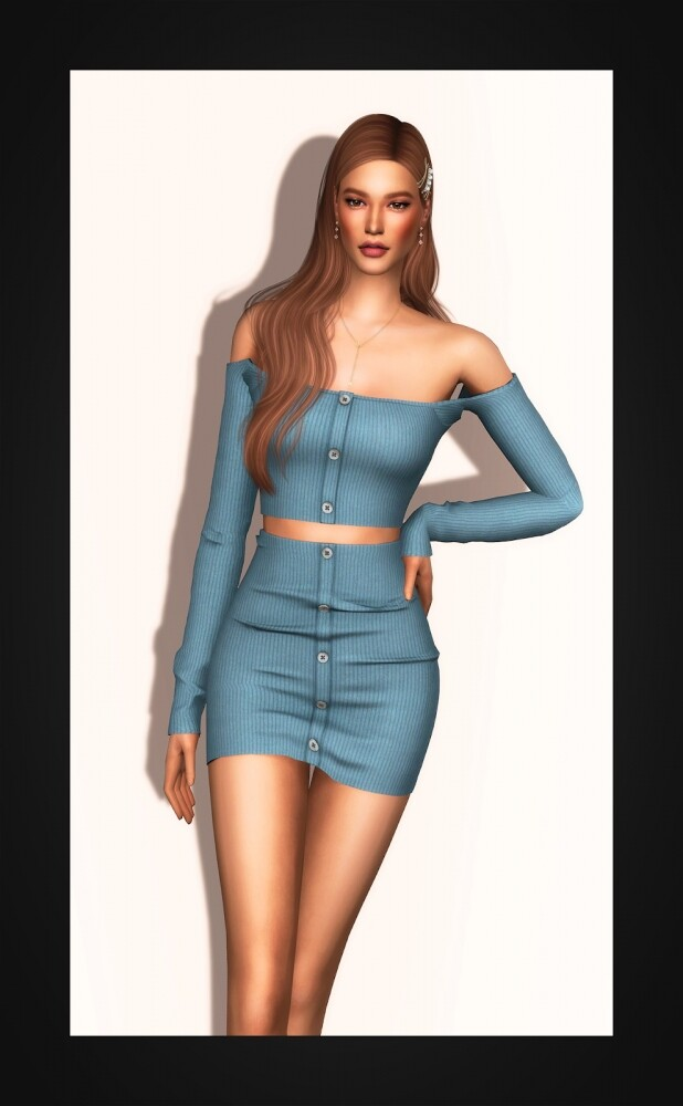 Sims 4 Ribbed Two Piece Mini Dress at Gorilla