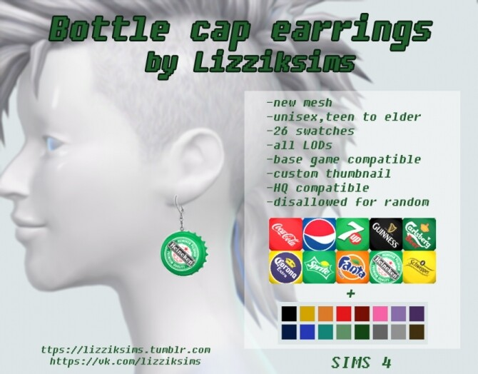 Bottle cap earrings at LizzikSims image 2023 670x524 Sims 4 Updates