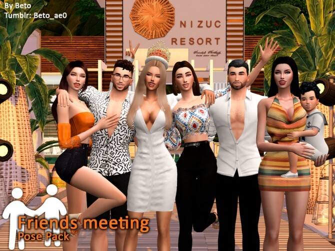 Sims 4 Friends meeting Pose Pack by Beto ae0 at TSR