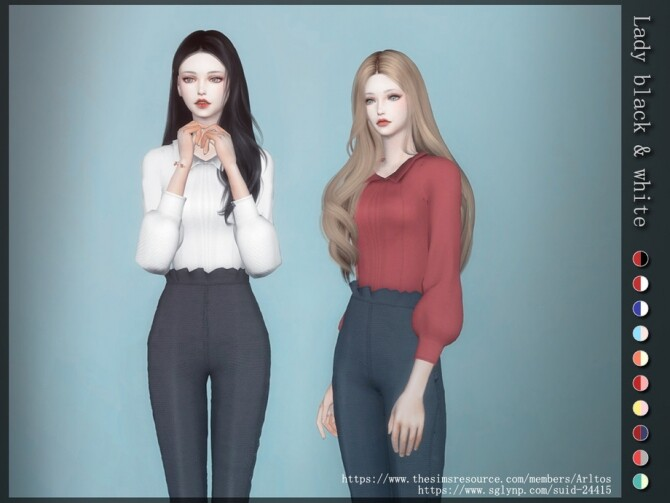 Sims 4 Lady black and white outfit by Arltos at TSR