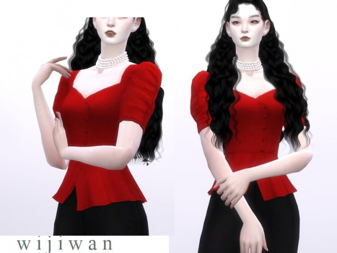 Square puff blouse by wijiwan at TSR image 2136 670x503 Sims 4 Updates