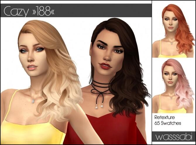 Sims 4 Cazy hair 188 retextured at Wasssabi Sims