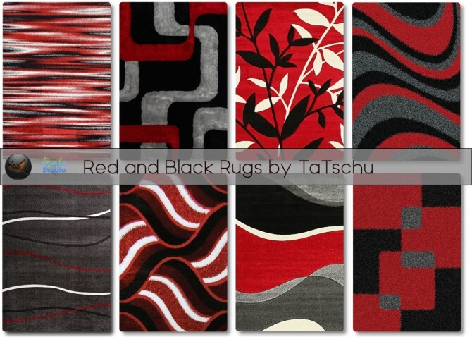 Sims 4 Black and Red Rugs at TaTschu`s Sims4 CC