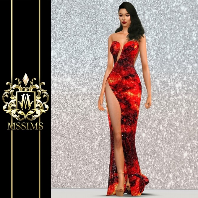Sims 4 LAVA GOWN at MSSIMS