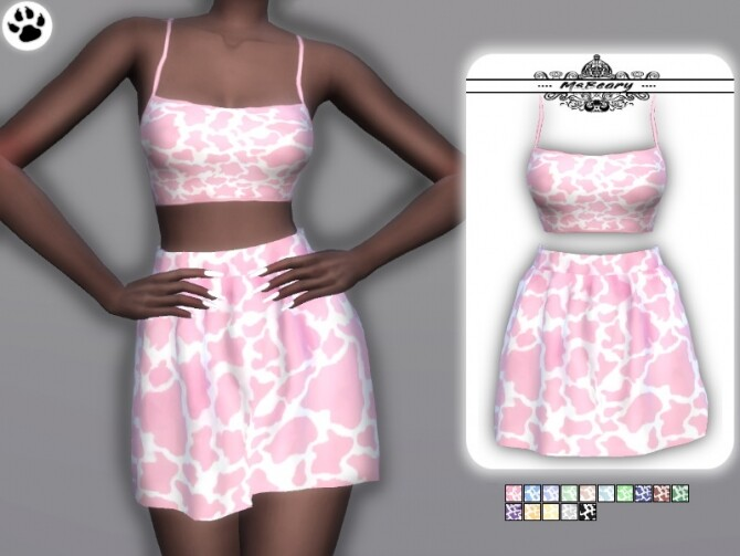 Cow Print Skirt & Top by MsBeary at TSR image 2210 670x503 Sims 4 Updates