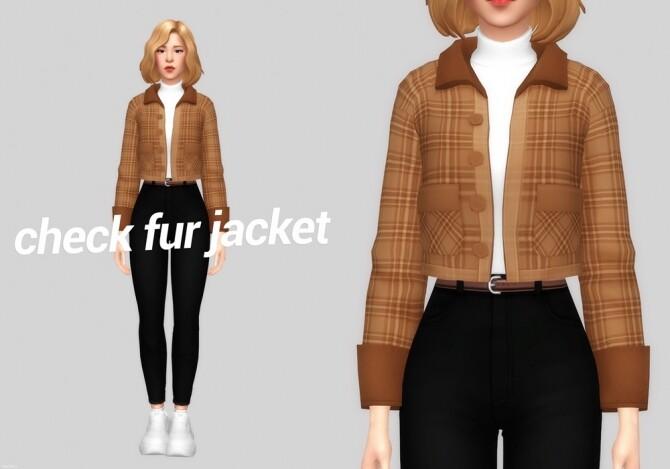 check fur jacket
