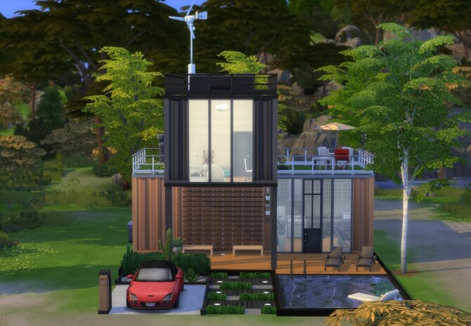 Sims 4 Modern Style Container House N.03 by Fivextreme at TSR