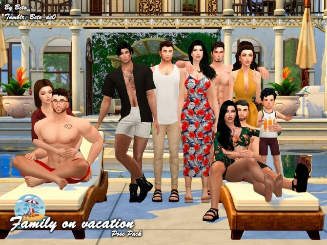 Sims 4 Family on Vacation Pose Pack by Beto ae0 at TSR