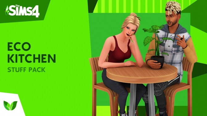 The Sims 4 Eco Kitchen Custom Stuff Pack by littledica