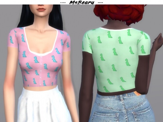 Sims 4 Button up Dinosaur Top by MsBeary at TSR