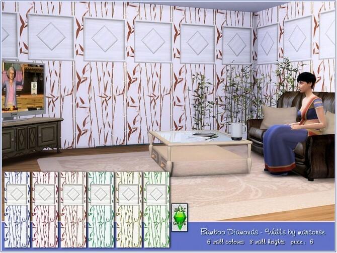 Sims 4 Bamboo Diamonds Walls by marcorse at TSR