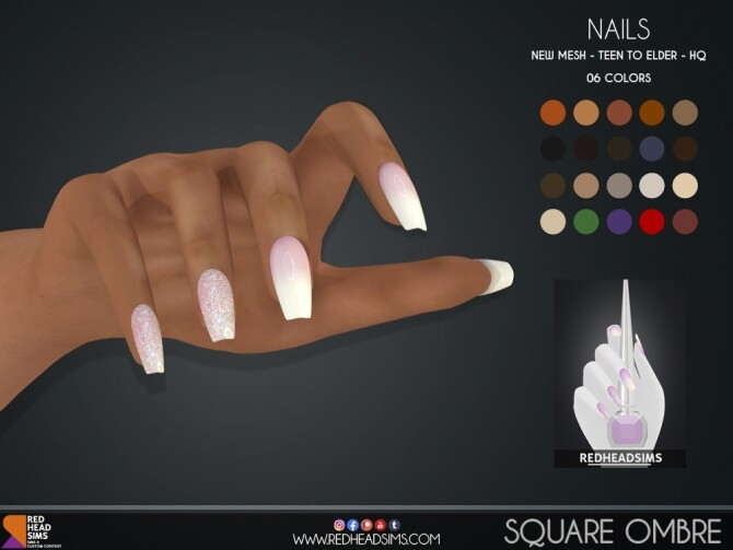 SQUARE OMBRE NAILS at REDHEADSIMS image 238 670x503 Sims 4 Updates