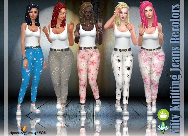 Sims 4 Nifty Knitting Jeans Recolors at Annett's Sims 4 Welt