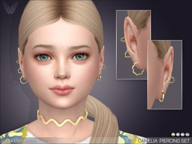 Sims 4 Camelia Earrings Set For Kids at Giulietta